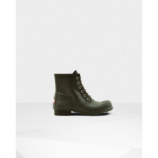 DARK OLIVE Hunter Men's Original Rubber Lace-Up Boots Outlet Online