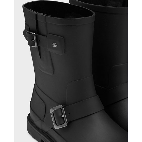 BLACK Hunter Men\'s Original Rubber Biker Boots Outlet Online