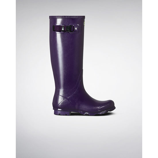DARK IRIS Hunter Women\'s Norris Field Gloss Rain Boots Outlet Online