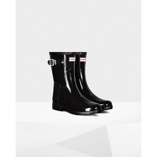 BLACK Hunter Original Short Refined Gloss Rain Boot Outlet Online