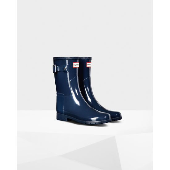 NAVY Hunter Original Short Refined Gloss Rain Boot Outlet Online