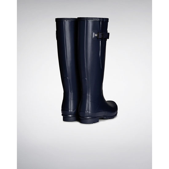 NAVY Hunter Women\'s Norris Field Side Adjustable Rain Boots Outlet Online