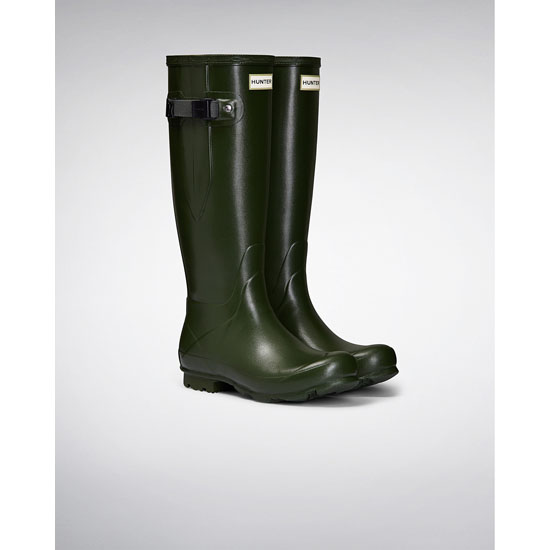 VINTAGE GREEN Hunter Women\'s Norris Field Side Adjustable Rain Boots Outlet Online