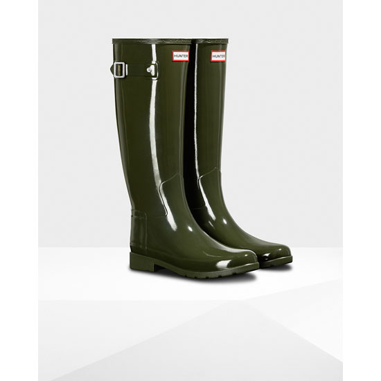 DARK OLIVE Hunter Original Refined Gloss Rain Boot Outlet Online