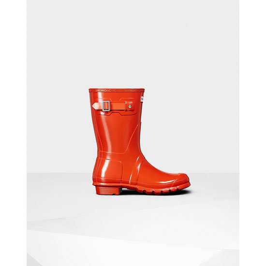 ORANGE Hunter Women\'s Original Short Gloss Rain Boots Outlet Online
