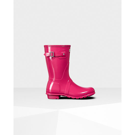 BRIGHT PINK Hunter Women\'s Original Short Gloss Rain Boots Outlet Online