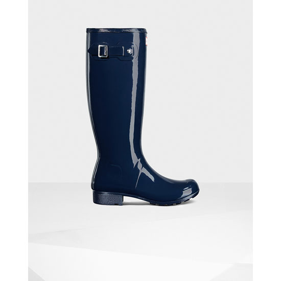 NAVY Hunter Women\'s Original Tour Gloss Rain Boots Outlet Online