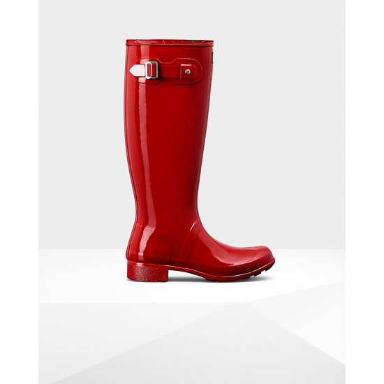 MILITARY RED Hunter Women\'s Original Tour Gloss Rain Boots Outlet Online
