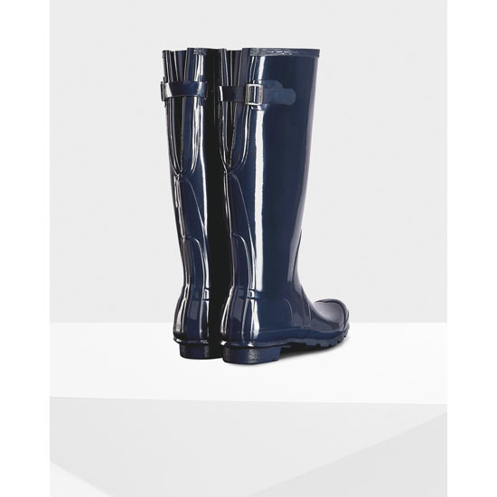 NAVY Hunter Women\'s Original Adjustable Gloss Rain Boots Outlet Online