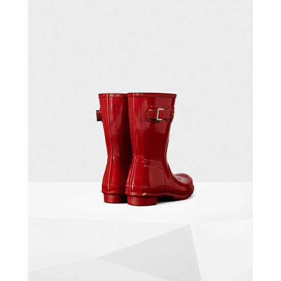 MILITARY RED Hunter Women\'s Original Short Gloss Rain Boots Outlet Online