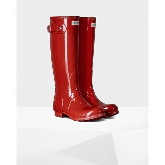 MILITARY RED Hunter Women\'s Original Tall Gloss Rain Boots Outlet Online