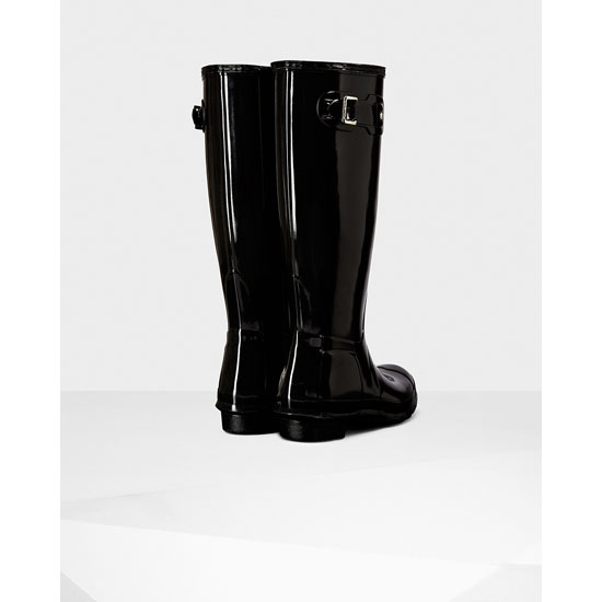 BLACK Hunter Women\'s Original Tall Gloss Rain Boots Outlet Online