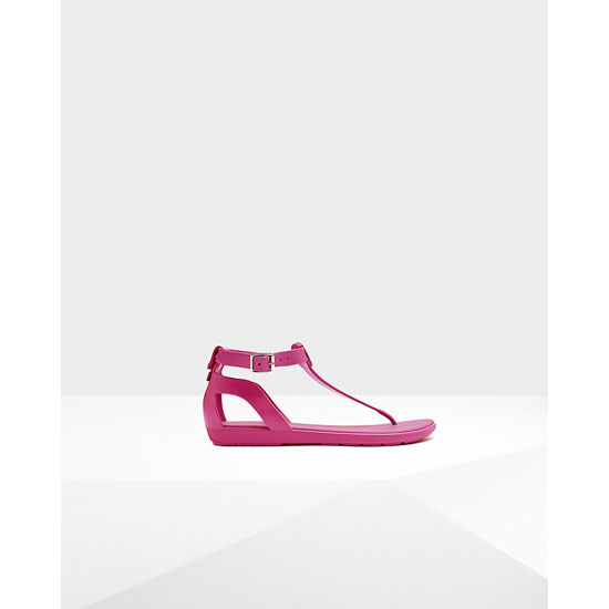 RIGHT CERISE Hunter Women's Original T-Bar Sandals Outlet Online