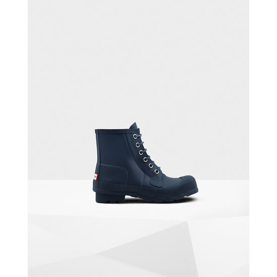 NAVY Hunter Men\'s Original Rubber Lace-Up Boots Outlet Online