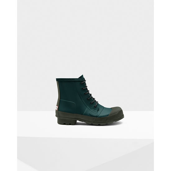 DARK OLIVE / BLACK Hunter Men's Original Rubber Lace-Up Boots Outlet Online