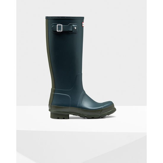 OCEAN / DARK OLIVE Hunter Men's Original Tall Two-Tone Rain Boots Outlet Online