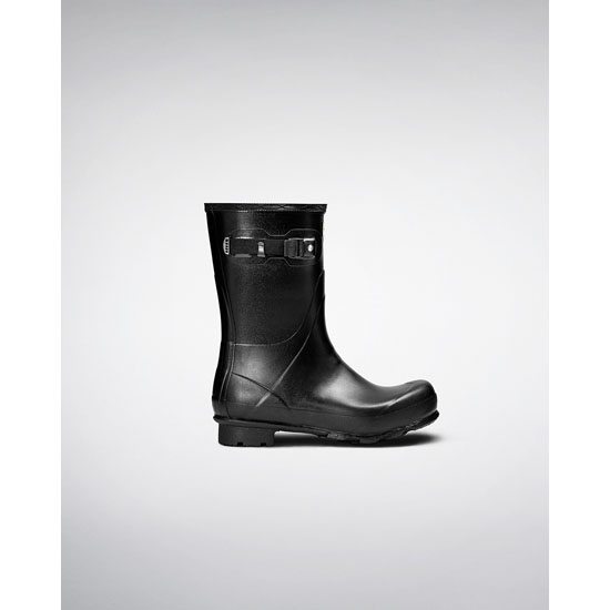BLACK Hunter Mens Norris Field Short Wellington Boots Outlet Online