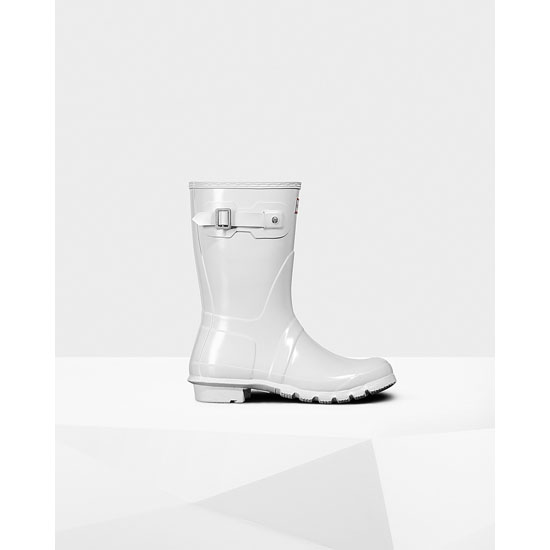 WHITE Hunter Women's Original Short Gloss Rain Boots Outlet Online