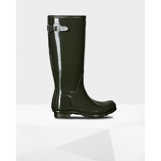 DARK OLIVE Hunter Women's Original Adjustable Gloss Rain Boots Outlet Online