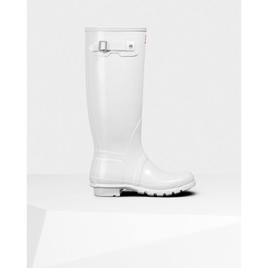 WHITE Hunter Women\'s Original Tall Gloss Rain Boots Outlet Online