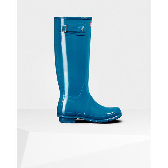 OCEAN BLUE Hunter Women\'s Original Tall Gloss Rain Boots Outlet Online